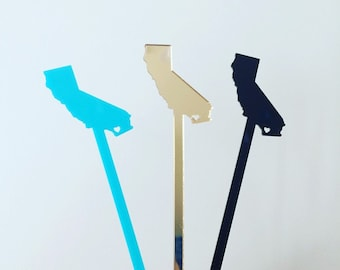 Custom State Swizzle Sticks,Personalized Gift,Drink Stirrer,Wedding,Texas,California,Engagement Party,Stir Sticks,Bar,California,Texas,50 Pk