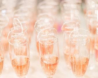 Place Cards,escort cards,drink Stirrers Custom Etched,Acrylic Stirrers,Laser Cut Wedding Decor,Drink Stirrers,Swizzle Sticks,acrylic cards