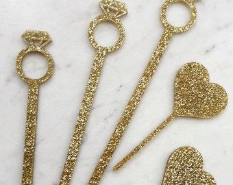Diamond Ring, Wedding Drink Stirrers,Stir Sticks,Perfect Weddings,Bridal Shower,Engagement Party,Swizzle Sticks,Bachelorette,Laser Cut,50 Pk
