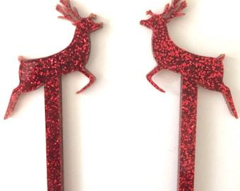 Christmas Drink Stirrers,Reindeer,Rudolph,Drink Stirrer,Gold Swizzle Sticks,Christmas Decorations,Winter,Stir Stick,Cocktail,Gift ideas,6 Pk