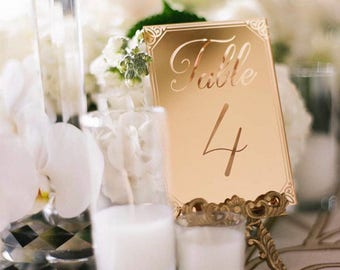 Mirrored Gold Acrylic Table Number,Wedding Decor,Party Decor,Perfect Weddings,Gold Wedding Decor,Acrylic Wedding Signs,Custom Decor, 1 ct