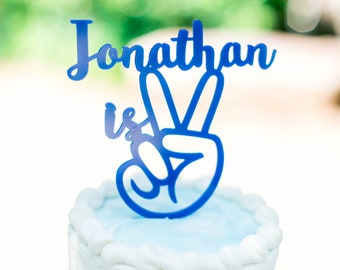 Peace Sign,Personalized Name topper,Cake Topper,Second Birthday Topper,two,Laser Cut,Acrylic,custom,2nd Birthday,Baby is 2,Happy Birthday