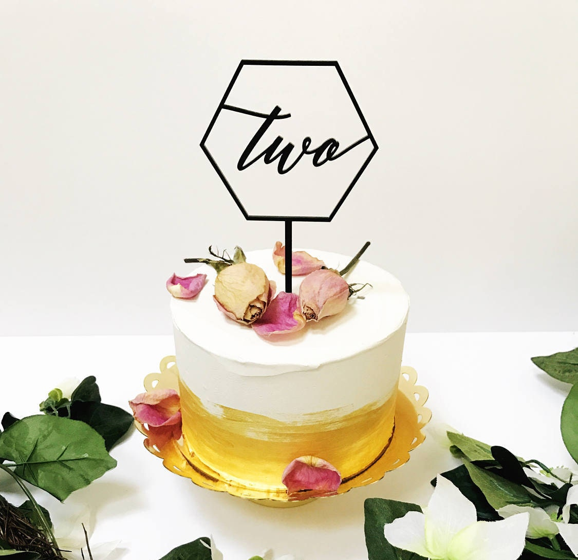 Hexagon Cake Toppernumber Toppergeometric Caketwo TopperBirthday TopperRustic Laser Cut ToppersAcrylic Topper1st Birthday