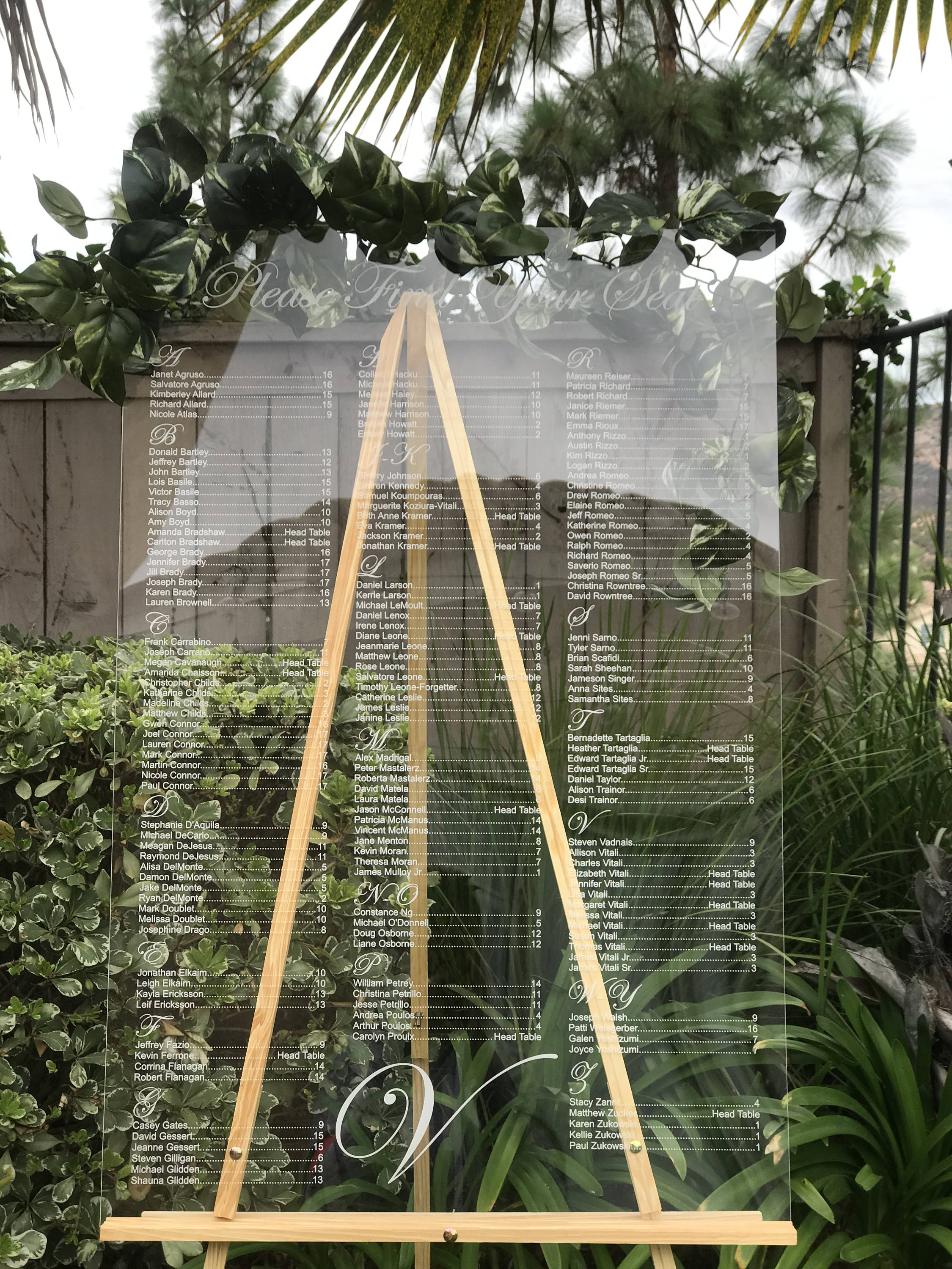 Laser Cut Etched Acrylic Seating Chart,Wedding Decor,Party
