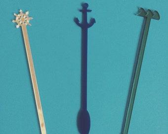 Nautical Party Set, Stir Sticks, Perfect Weddings, Wedding Shower, Swizzle Sticks, Party, Summer, Acrylic, Laser Cut, Bar Ware, 6 Pack