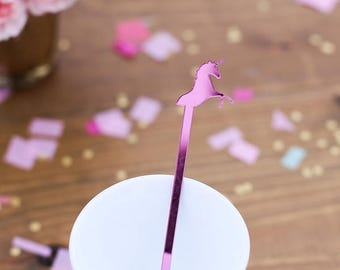 Unicorn, Drink Stirrer, Swizzle Sticks, Paper & Party Supplies, Whimsical Decor, Princess Party, 6 Pack