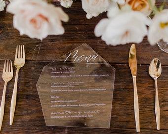 Acrylic Wedding Menu,geometric,modern,Laser Cut Etched Stationary,Party Decor,Perfect Weddings,Gold Details,Luxury,birthday,boho bridal