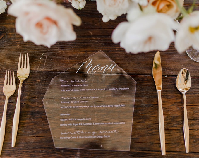 Featured listing image: Acrylic Wedding Menu,geometric,modern,Laser Cut Etched Stationary,Party Decor,Perfect Weddings,Gold Details,Luxury,birthday,boho bridal