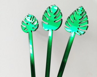 Palm Leaf,Monstera Drink Stirrer Set,Decor,Leaves,Fall Leaves,Holiday,Summer Leaves,Tropical,Cocktail Stick,Wedding,Hostess,Party Decor,51Pk