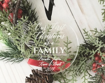 Personalized First Christmas Family 2021 Ornament - Personalized Acrylic Ornament, Family Christmas, Adoption Ornament, Wedding Gift,Adopted