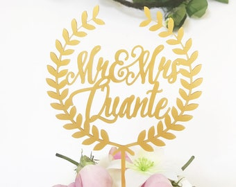 Laser Cut Mr. and Mrs. Gold Wreath Personalized Wedding Cake Topper,Engagement Cake Topper,Perfect Wedding,Cake Decoration,Last Name Topper