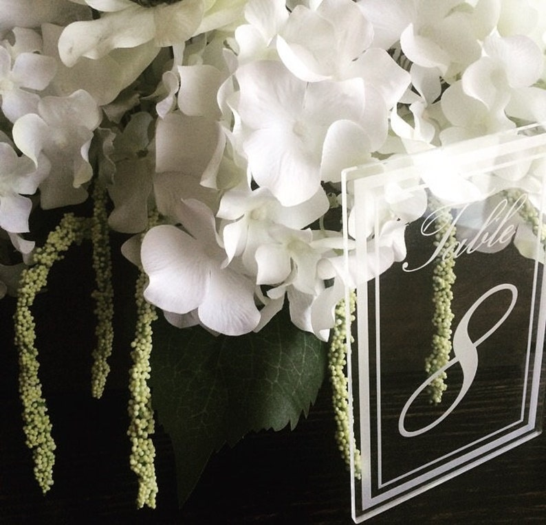 Laser Cut Etched Acrylic Table Number Wedding Decor Party image 0