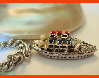 50s Sterling BON VOYAGE Cruise Ship Red White Blue Gemstone Coral Pearl Sapphire Oversized Pendant Charm Bracelet~Nautical~Boat~EUC Vintage!