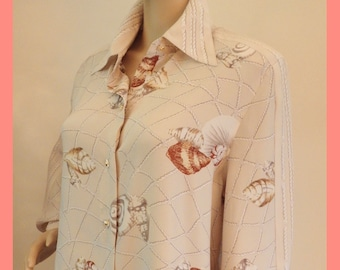 14bc652df9d3ab 90s Nautical SEA SHELL 100% SILK Starington by Charlotte Palm Beach Chic  Blouse Top Shirt~Sandy Beige~Pearly Lucite Button~80s Vintage~L~14