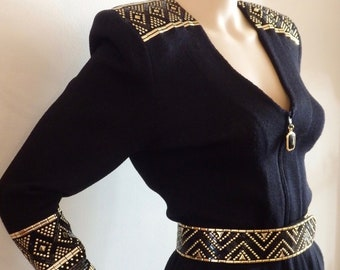 5eaa41b4c407 Disco 80s ST JOHN Marie Gray Black Gold JUMPSUIT~Paillettes~Wool Santana  Knit~Zippered Low Plunge Neckline~Faceted Glass Pull~Glam Rock~S 4