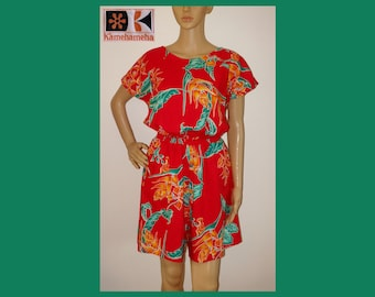 8f35e2a1cc7a KAMEHAMEHA Hawaii RED Short Jumpsuit Romper Jumper Dress One Piece Playsuit~M L~Festival~Hippie  Boho~Beach House Resort~70s~80s~Mint Vintage
