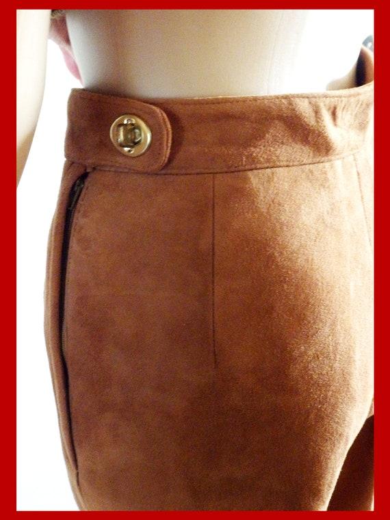 SILLS BONNIE CASHIN Suede Leather Pants~Wide Leg~… - image 7