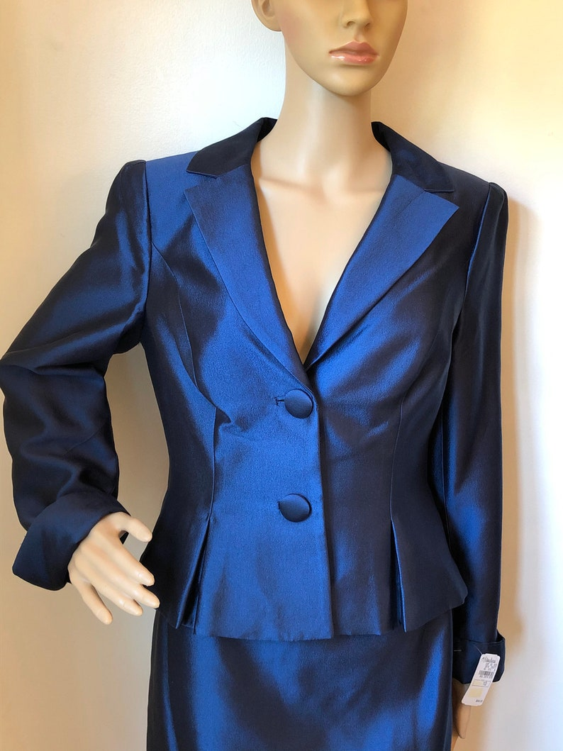 NWT KAY UNGER New York Sapphire Blue Silk Wool Blend Jacket Blazer and Skirt Suit Ensemble~Gorgeous Back Detail~Semi Formal Special Occasion