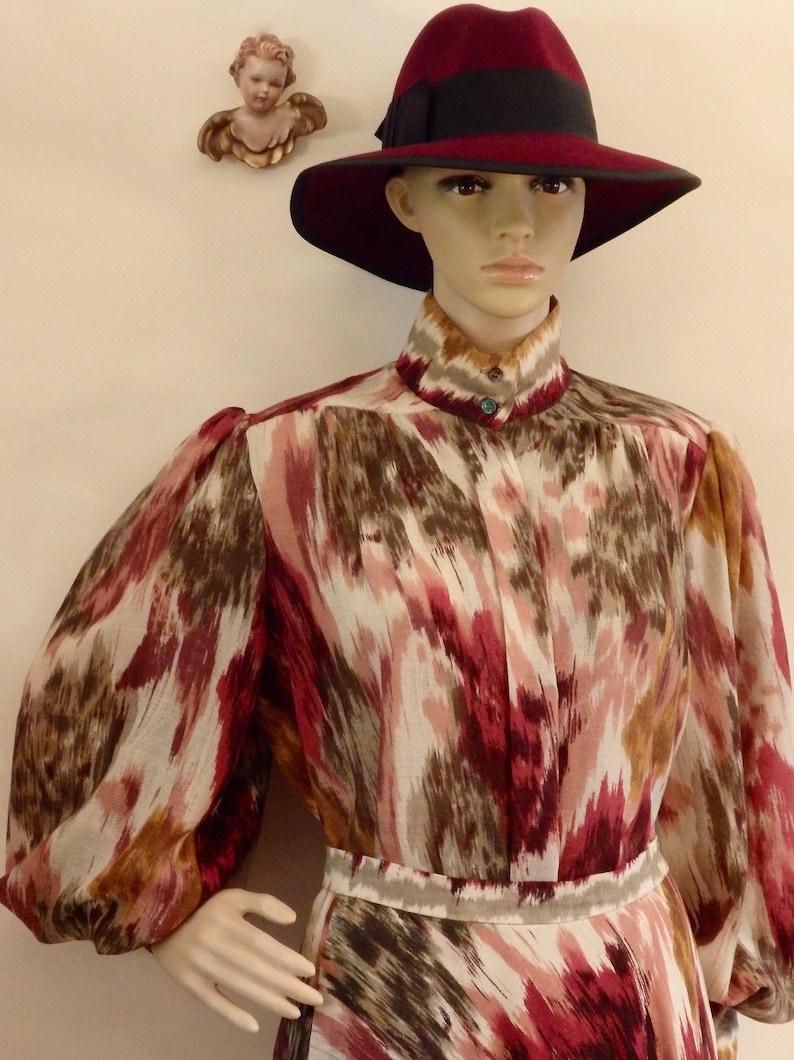 80s Julian Hsiung Southwestern Ikat Blouson Puffed Sleeve Statement Balloon Poet Sleeve Blouse Shirt TopCircle Midi Skirt~Wool~EUC Vintage