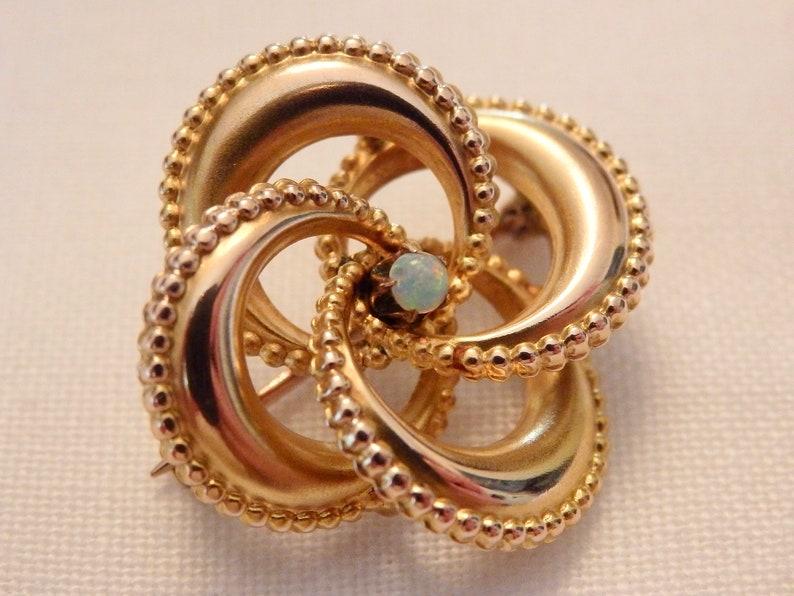 Victorian 10K Gold Opal Love Knot Pin Brooch~Edwardian~Art Nouveau