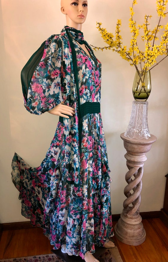 DIANE FRES Original Silk Floral Ruffle Skirt Maxi