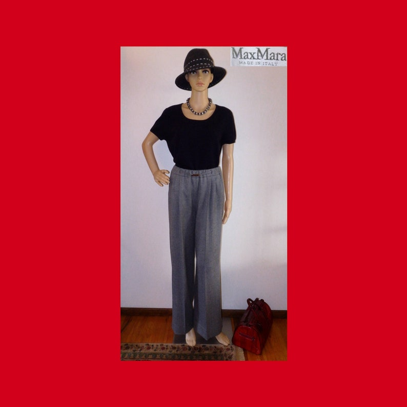 00f98c19fb5 MAX MARA Italy High Waist 100% Virgin Wool Pants Lined Gray