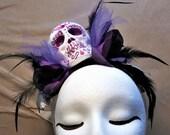 Purple Day of the Dead Headband-Sugar Skull Fascinator-Adult Halloween Headpiece-Adult Costume Hair-Costume Accessory