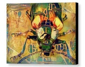 Dogbane Leaf Beetle Watercolor Scarab Wall Art Small Emerald Green Gold Surreal Insect Canvas Print by Susan Maxwell Schmidt 12 quot x 9 quot
