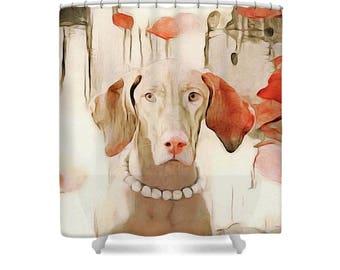 Wiemaraner Dog Art Fabric Shower Curtain Peach Taupe Beige Gray Watercolor Animal Home Decor The Duchess By Susan Maxwell Schmidt