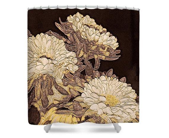 Earthy Flowers Fabric Shower Curtain Kimono Garden White