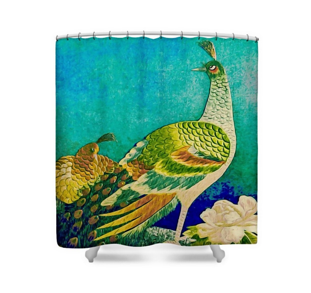 Peacock Art Fabric Shower Curtain Turquoise Blue Green Vintage Kimono Embroidery Bath Decor Handsome Peacock By Susan Maxwell Schmidt