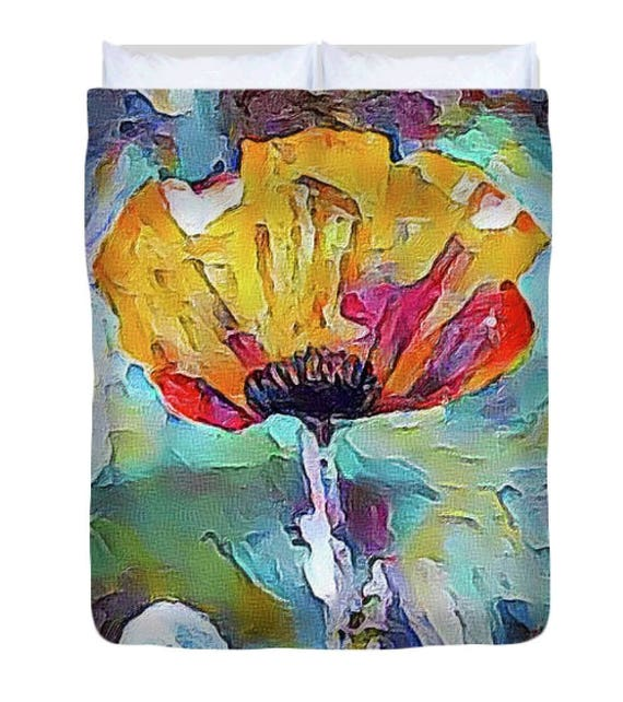 Poppy Flower Art Fabric Shower Curtain Modern Yellow Red
