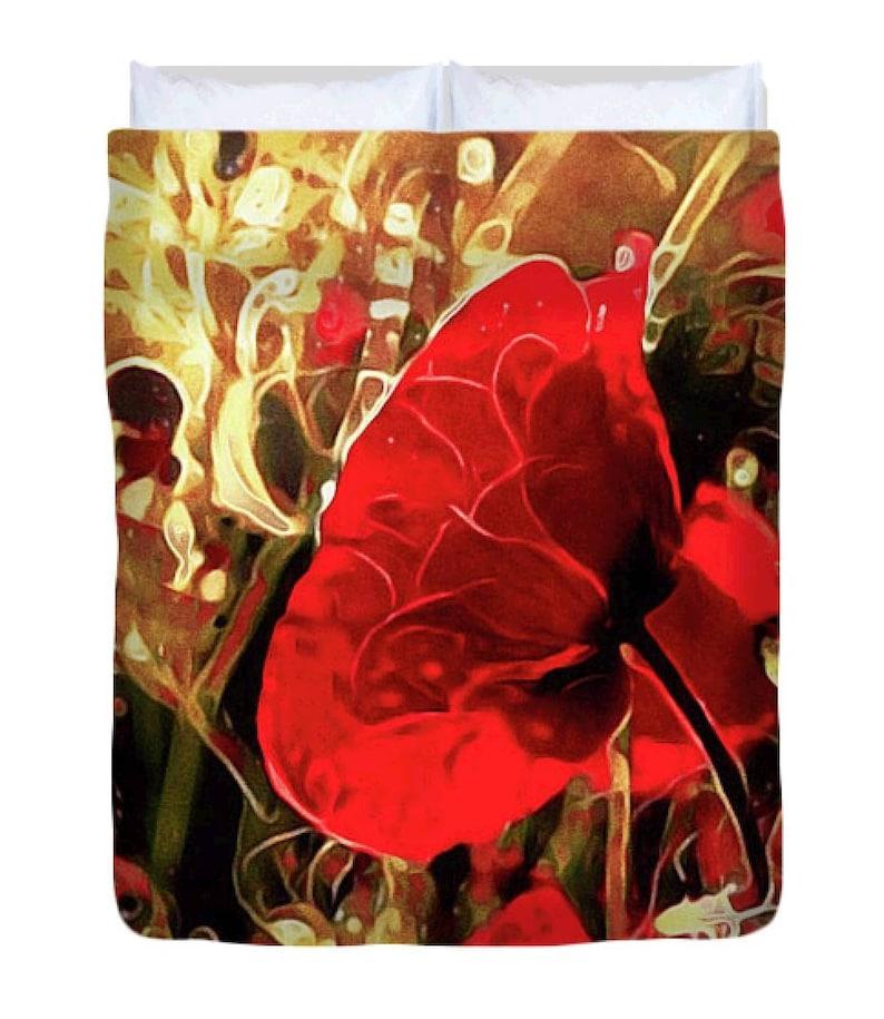Poppy Duvet Cover Red Yellow Flower Meadow Comforter Etsy