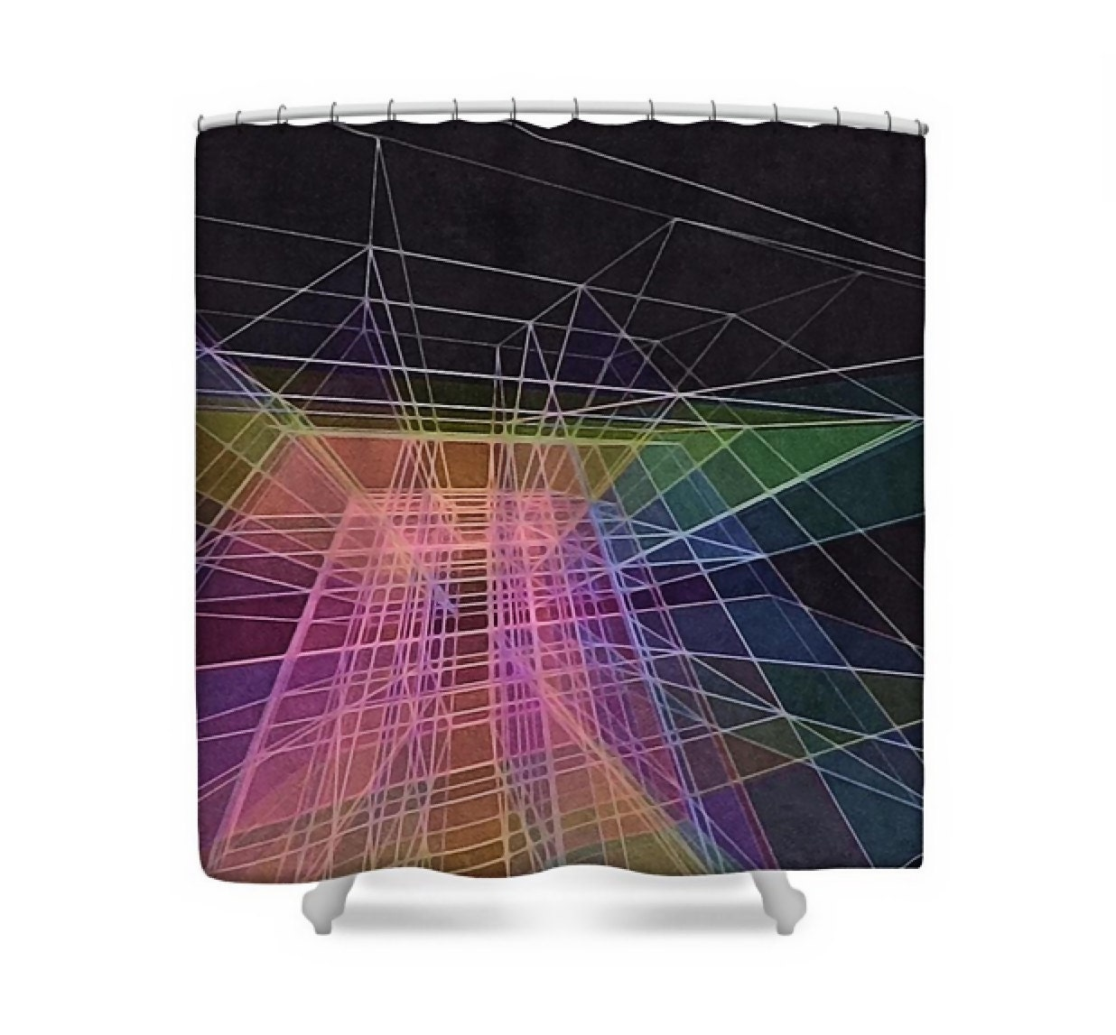 Modern Abstract Art Fabric Shower Curtain Multicolor Rainbow On Plum Purple Contemporary Bath Decor Prism Of Mind By Susan Maxwell Schmidt