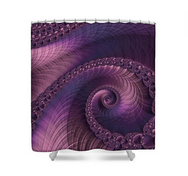 3 D Fractal Art Fabric Shower Curtain Plum Purple Navy Blue