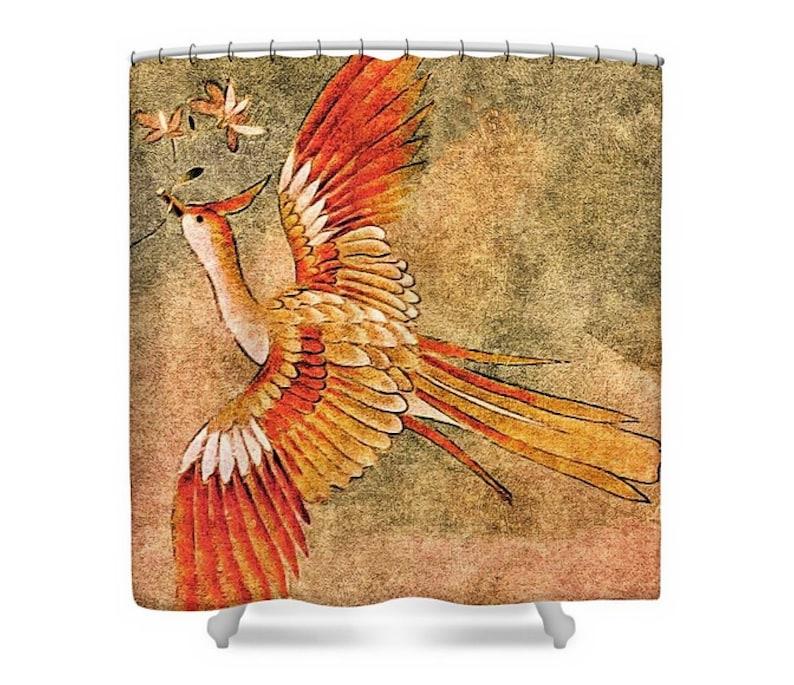 Rideau De Douche Tissu Paon Terreux Or Orange Et Vert Japonais Kimono Oiseau Art Home Decor Le Cadeau De Peahen Par Susan Maxwell Schmidt