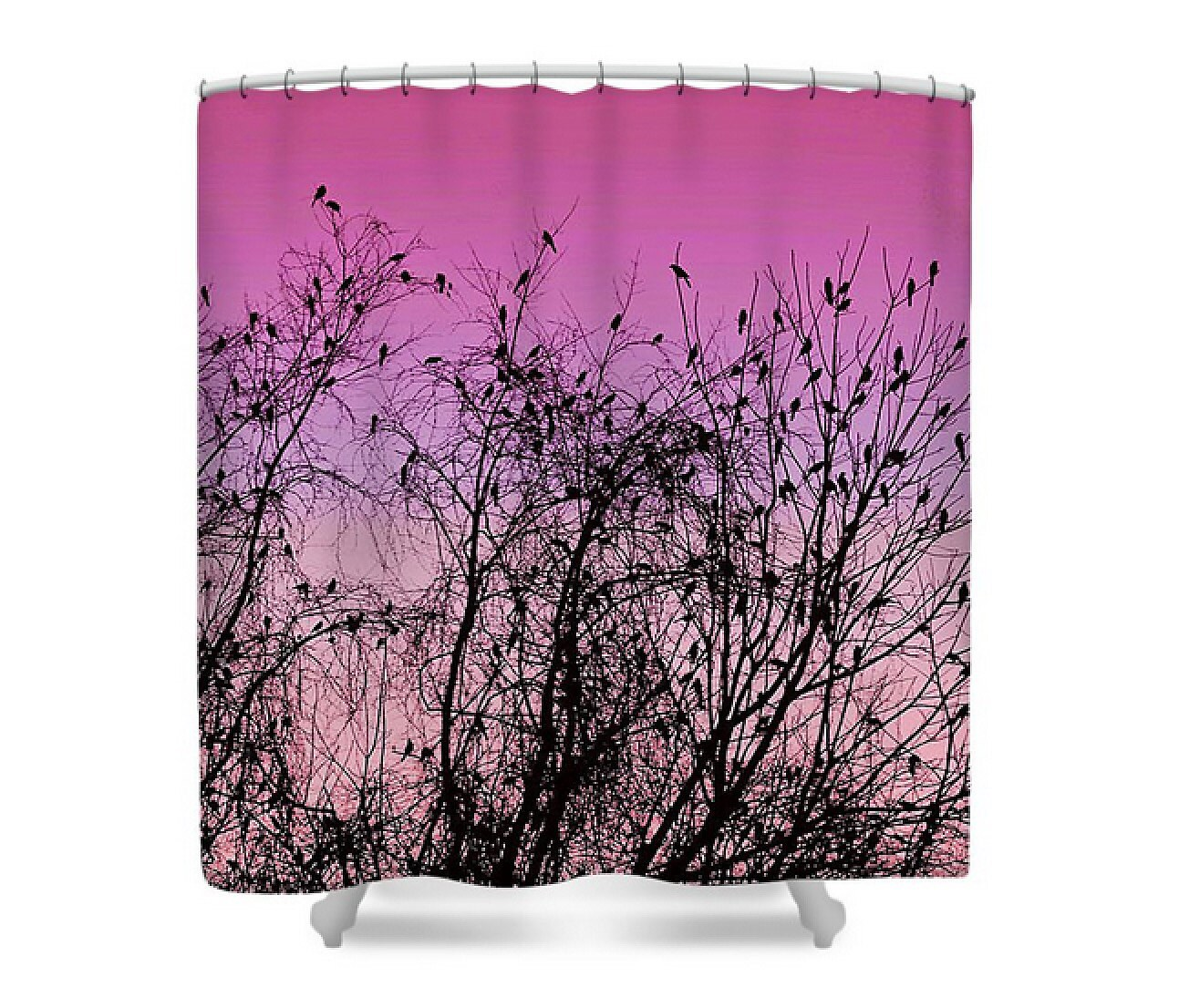 Ombre Sunset Silhouette Fabric Shower Curtain Pink Purple Brown Birds In Trees Bath Decor Autumn Congressional By Susan Maxwell Schmidt