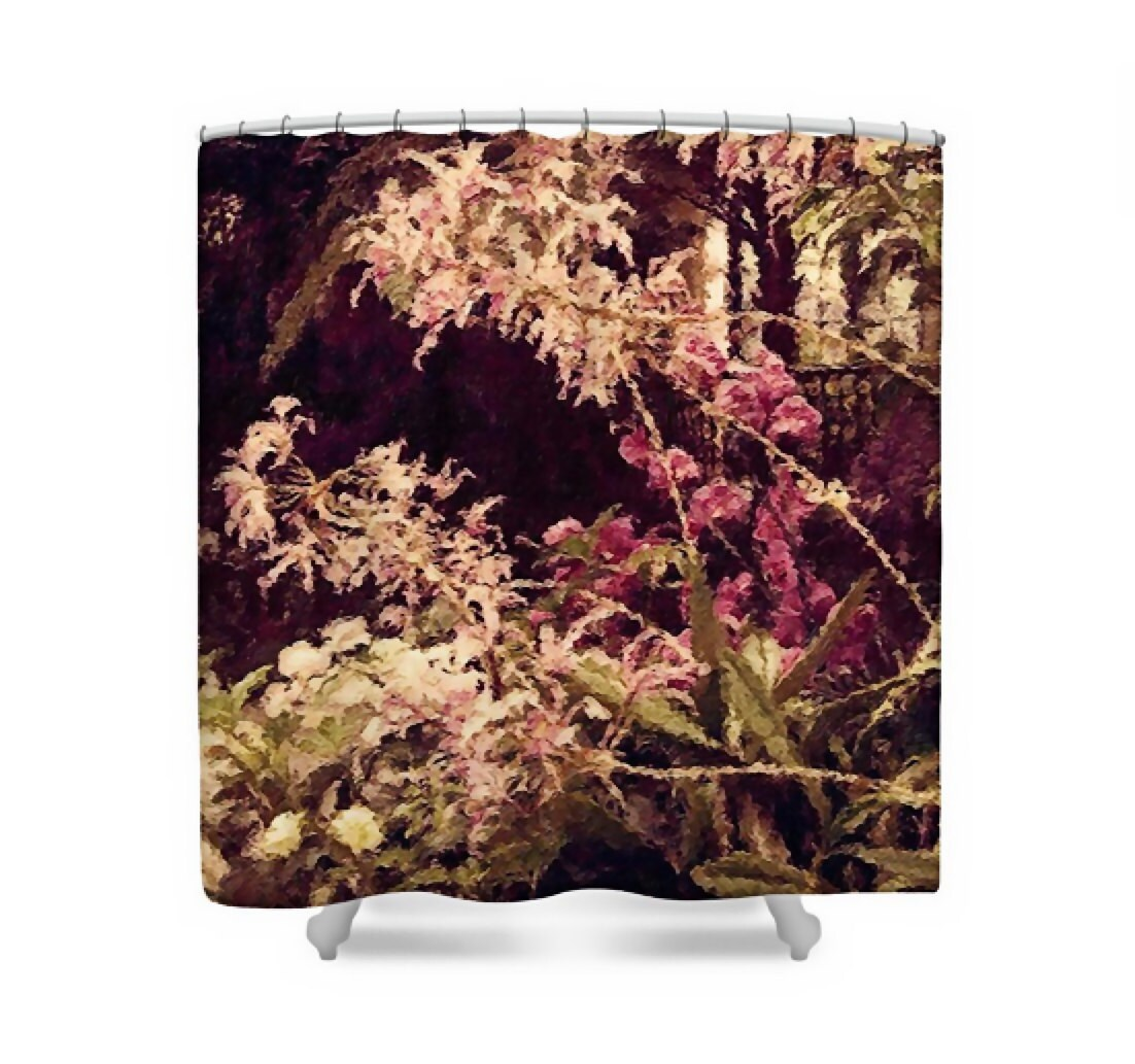 Plum Floral Fabric Shower Curtain Rose Pink White Deep Purple Painted Flowers Home Decor Orchids In The Atrium By Susan Maxwell Schmidt