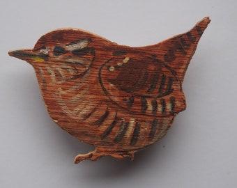 Wren - wooden badge
