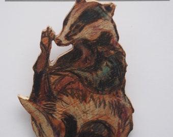 Badger - wooden badge
