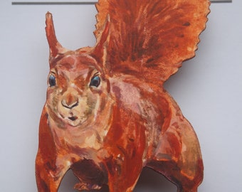 Red squirrel - wooden badge