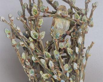 Willow warbler in sallow catkins
