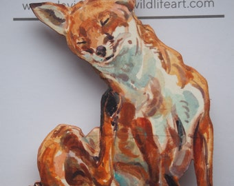 Scratching fox - wooden badge