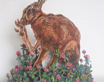 Hare in red clover - wooden sculpture
