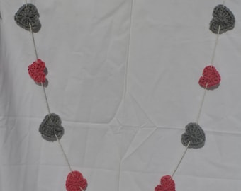 Pink and Grey Crochet Heart Garland