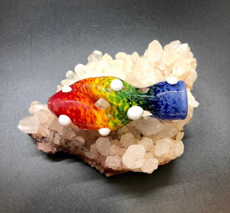 Rainbow Twisted Glass Chillum Rainbow Glass Smoking Pipe image 0