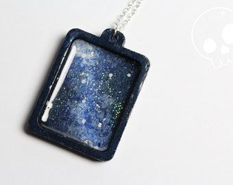 Necklace Galaxy * Wood Frame Painting Handmade * Star * Space * Nebula * Astronomy * Silver Sterling * Pendant * Constellation * Magic