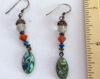 VINTAGE - Abalone, Crystal, Quartze, and Silver Earrings