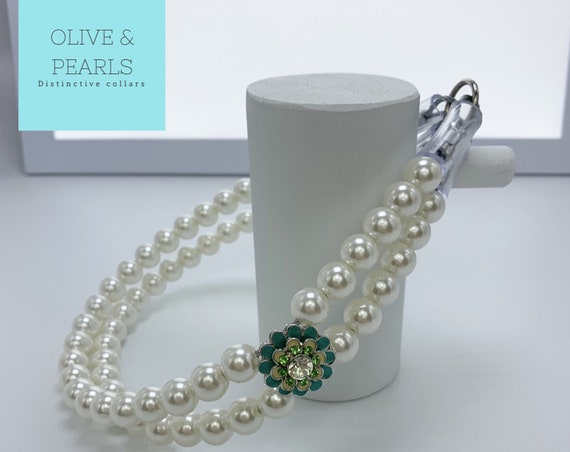 """The """"Aster"""" Pearl Beaded Dog Collar, Pearl Dog Collar, Bead Dog Collar, Jeweled Dog Collar"""