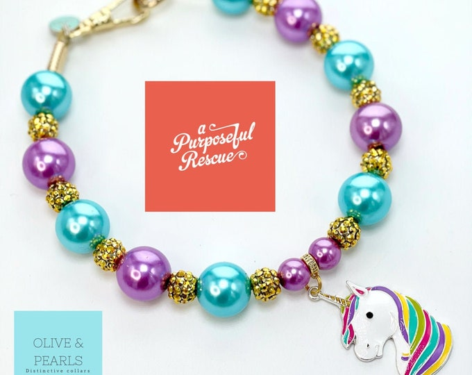 "The ""Gma Idris Elbows"" Magical Unicorn Pearl Dog Collar"